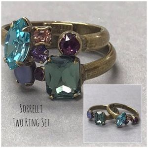 Sorrelli Jewel Tone Crystal Stackable Ring Set,NWT